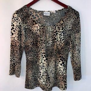 Chicos 0 Top Animal Print Knit Size Small Womens S